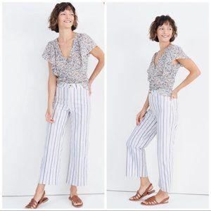 MADEWELL Slim Emmett Wide Leg Crop Pants Stripe Z1